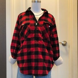 Red plaid pullover